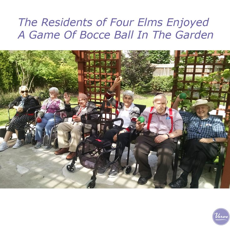 The residents of Four Elms enjoy a game of Bocce Ball in the garden