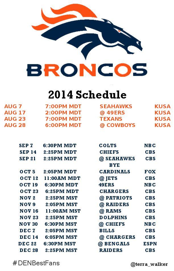 2014 Broncos Schedule #DENBestFans