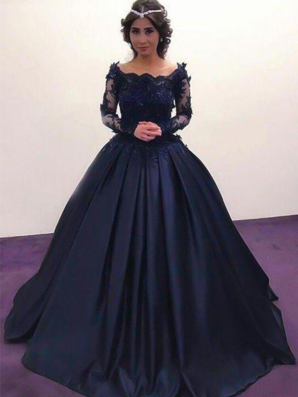 e80c22b1ba7 2019 Ball Gown Dark Navy Long Bateau Applique Satin Prom Dresses in ...