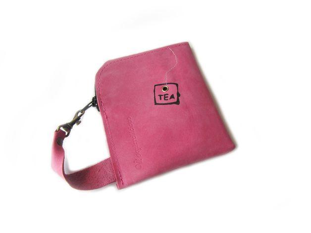 Portemonnees - roze leer portemonnee zeefdruk thee - Een uniek product van Squirrellicious op DaWanda
