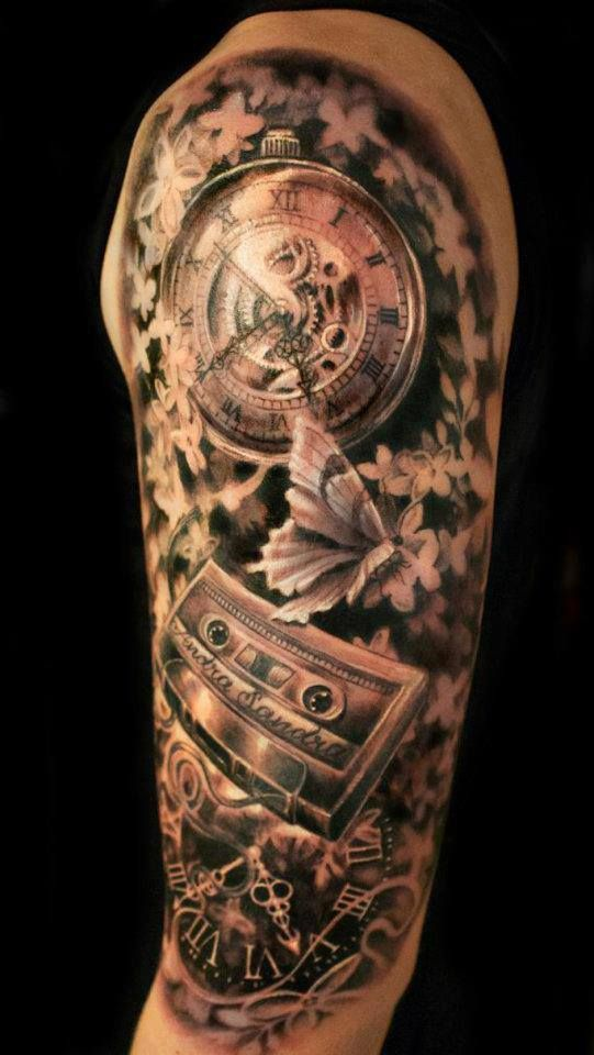 amazing detail and shading mens half sleeve clock casette butterfly flowers tattoo. Black Bedroom Furniture Sets. Home Design Ideas