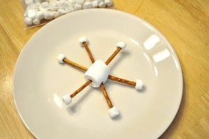 Snowflake Snack with pretzel sticks and marshmallows. Extra: Drizzle on some white chocolate?