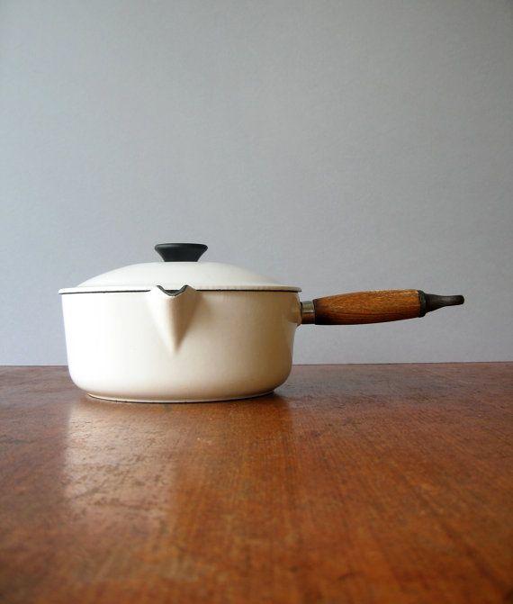 Vintage Le Creuset White Enamel Saucepan 20 Saucepans