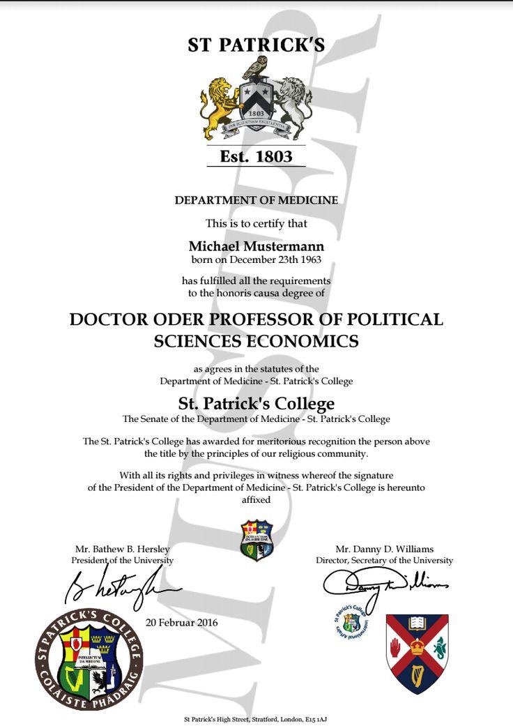 Doktortitel kaufen St. Patrick College   University | Berufszertifikate & Diplome DOCTOR, PROFESSOR HONORARY DEGREE CERTIFICATE HARVARD, CAMBRIDGE, OXFORD, STANFORD, PRINCETON, YALE, IMPERIAL, EHRENDOKTOR, DOKTORTITEL, DOCTOR TITEL KAUFEN, URKUNDE ZUM GEBURTSTAG, HONORARY DEGREE CERTIFICATE, DIPLOMA, EHRENDOKTOR, DOKTOR TITEL, ODER PROFESSOR KAUFEN URKUNDE DIPLOM, TITLES OF NOBILITY DOCUMENT CERTIFICATE CERTIFICATE HONORARY TITLE PRESENT Geschenke zum Geburtstag, Diplome, www.etwas.info