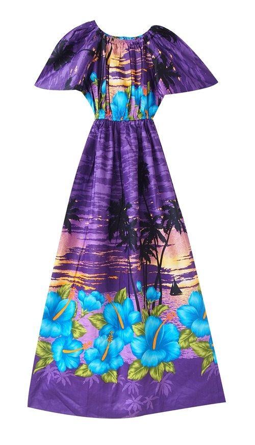 Aloha Hawii dress/ maxi dress / purple dress/Hibiscus by LPSNUG