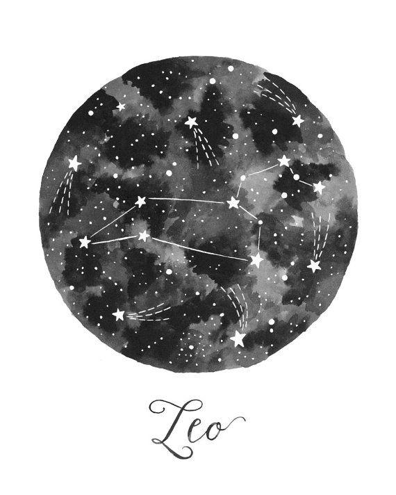 Leo Constellation Illustration Vertical by fercute on Etsy