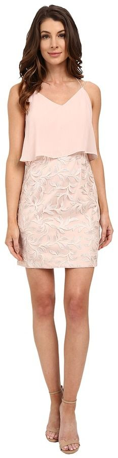 Aidan Mattox Pop Over Chiffon Top with Embroidered Skirt