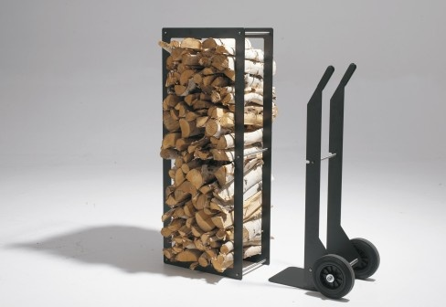 """The Qrater WoodStock wood chariot consists of two parts. The chariot itself and the wood rack. By putting the chariot under the rack and lifting it up, you can move the rack and easily transport a large amount of wood logs to your Qrater or to your fireplace."""