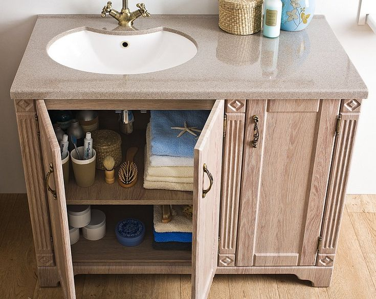 Ritorno bathroom furniture collection - larch pattern / łazienka #furniture #bathroom #wood #classic #washbasin