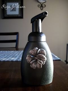 Spray paint ugly plastic foaming soap dispensers Katie.J.Gibson: Spray Paint Sunday