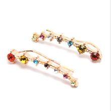 1 Paar Kleurrijke Crystal Ear Clip Kraakbeen Oorbellen Oor Stu Zinklegering Oor Piercing Ear Plug & Tunnel Lichaam Sieraden(China (Mainland))