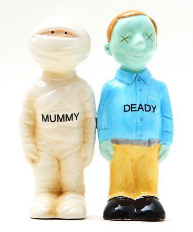 Loving this Mummy & Deady Ceramic Salt & Pepper Shaker - Set of Two on #zulily! #zulilyfinds