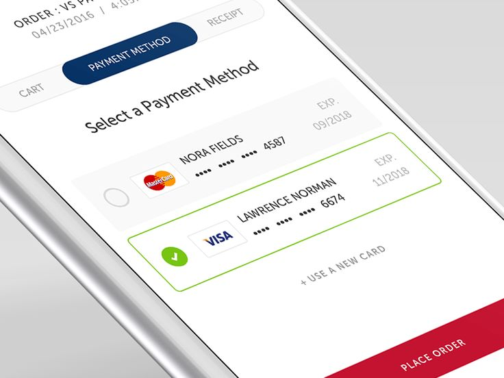 Here's a shot of a payment selection screen for a mobile food & beverage app we've been designing. Currently the platform only accepts credit cards, though eventually options for PayPal, AppleP...