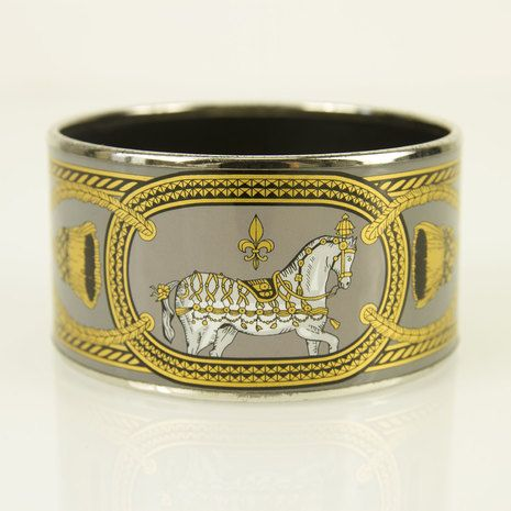 Hermes extra wide printed Gray hues enamel Palladium bracelet in great condition