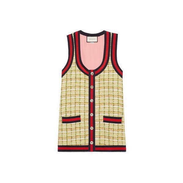 Gucci Tweed Oversize Vest (36.340.005 VND) ❤ liked on Polyvore featuring outerwear, vests, gucci, gucci vest, metallic vest, beige vest and tweed vest