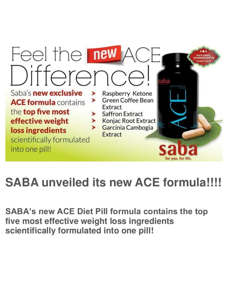SABA's new ACE Diet Pill - SABA's new ACE Diet Pill formula contains the top five most effective weight loss ingredients scientifically formulated into one pill!
