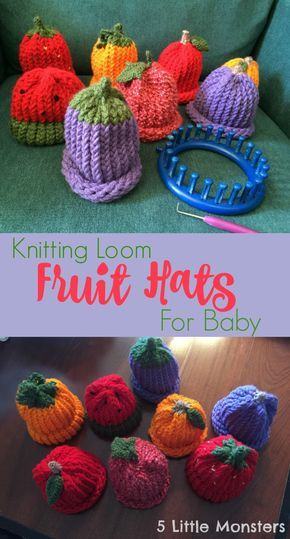 5 Little Monsters: Fruit Hats on a Knitting Loom