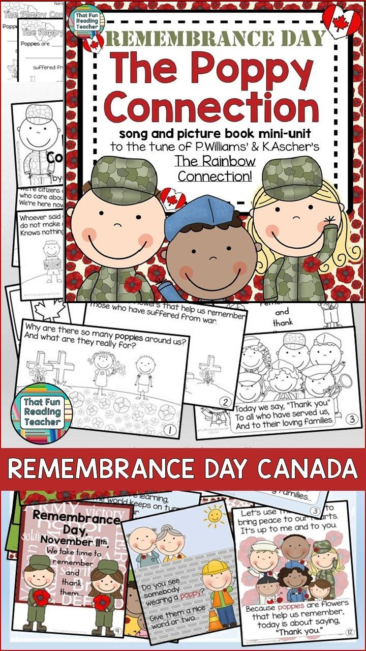 FREE Canadian Remembrance Day Song, Storybook Unit - character education song (to the tune of The Rainbow Connection) ideal to prepare for an assembly, color picture book, black and white student copy, no prep printables $