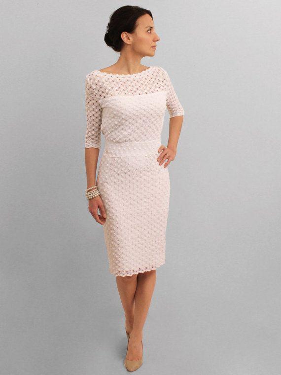 White pencil dress, elegant midi dress, three-quarter sleeve lace dress, knee dress, sleeveless dress, boat neck dress, open-back dress