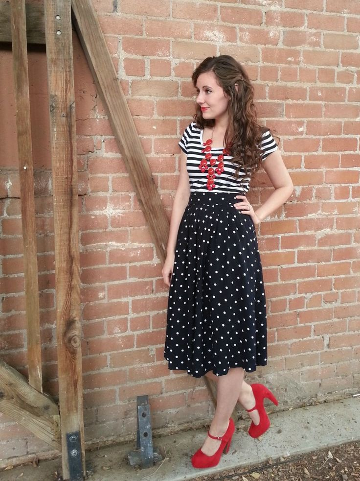 Polka dot fifties skirt print mixed with stripes (Classic colors: red white & black.) Blog no longer open