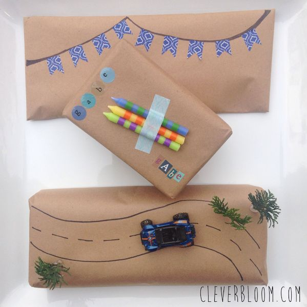 Gift wrap for a little boy. Check out this simple way to wrap a present that every little boy will love!