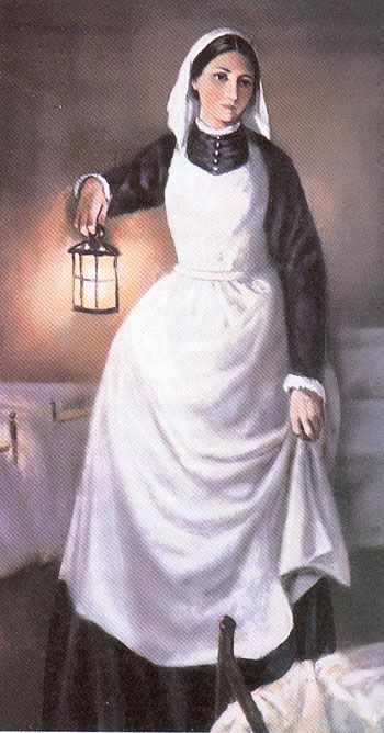 "This drawing portrays Florence Nightingale in a hospital ward. While she worked in various hospitals during the Crimean War, she often carried a lamp as she visited many of the patients each night. Florence became known as the ""Lady with the Lamp."""