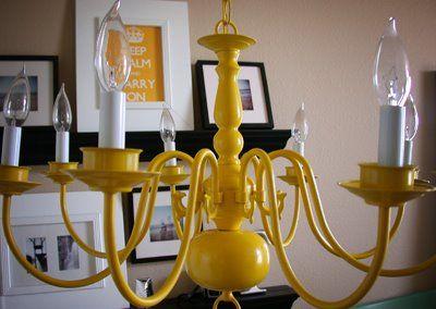 Best 25 yellow chandelier ideas on pinterest teal rooms in limbo spray painted chandelieryellow aloadofball Gallery