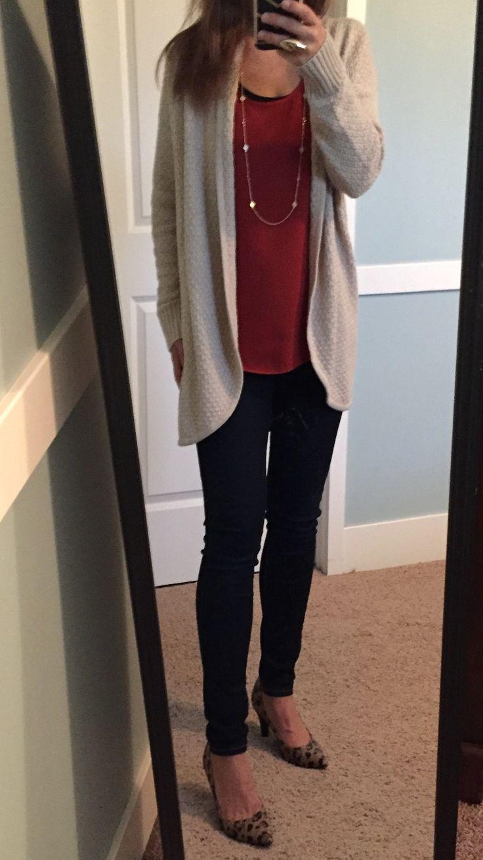 Light cream/beige cardigan, burnt orange top, dark skinny jeans, & leopard print…