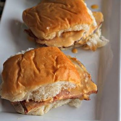 Crock-Pot Hot Ham & Cheese Sandwiches @keyingredient #cheese