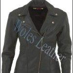 Jaket kulit wanita; Material: Kulit domba; Aksesoris: YKK original