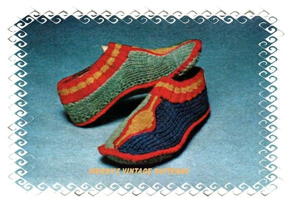 Instant Download PDF Seventies Vintage KNITTING PATTERN to make a Retro Hippy Pointed Toe Turkish or Indian Retro Slippers Indoor Shoes
