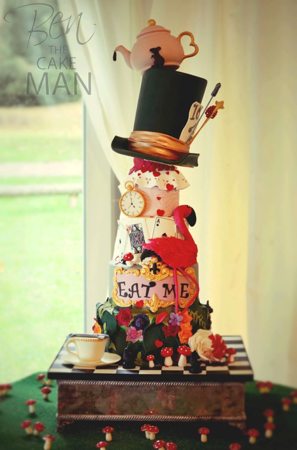 Mad hatter's tea party wedding cake.