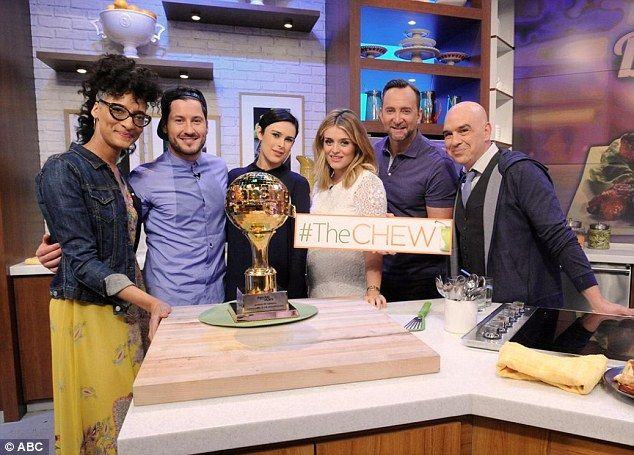 Celebrating: Rumer and Val posed alongside The Chew co-hosts, with their newly awarded Dancing with the Stars trophy front and center
