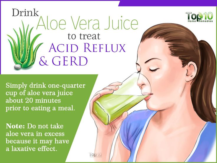 drink loe vera juice to treat acid reflux (GERD)
