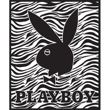 Playboy Logo Zebra   Korean Mink Queen Size Blanket