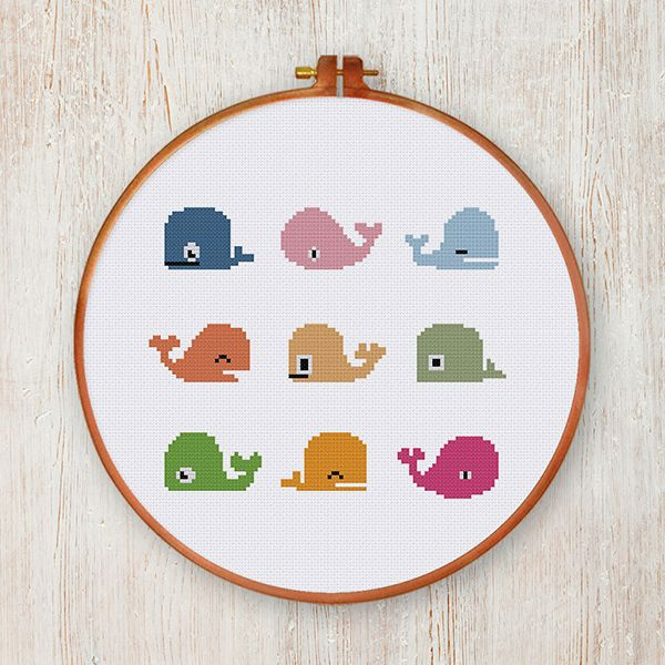 Funny Whales cross stitch pattern easy chart beginner instant download nursery chart by ThuHaDesign