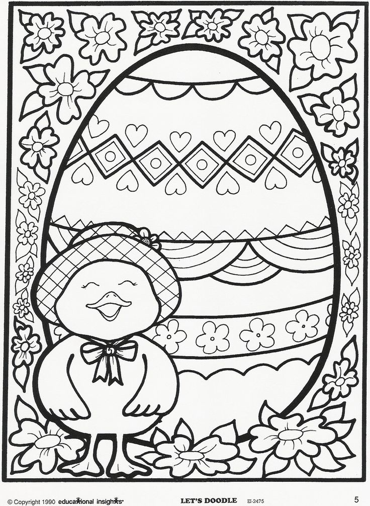 Easter egg and chick coloring page