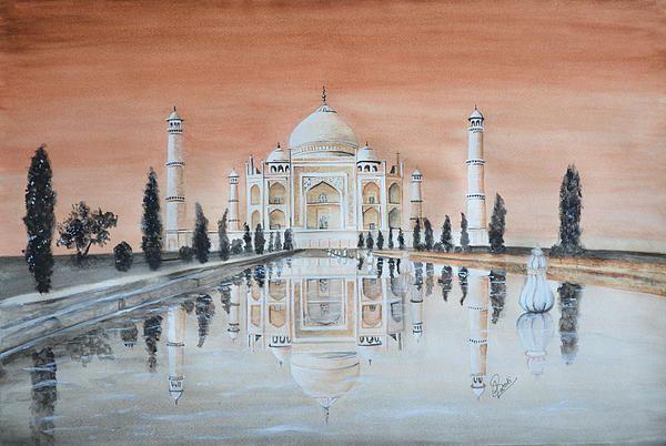 Taj Mahal, watercolor painting by Swati Singh