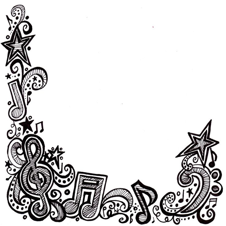 """Music doodle border (this will fit on 8.5"""" x 11"""" paper)"""