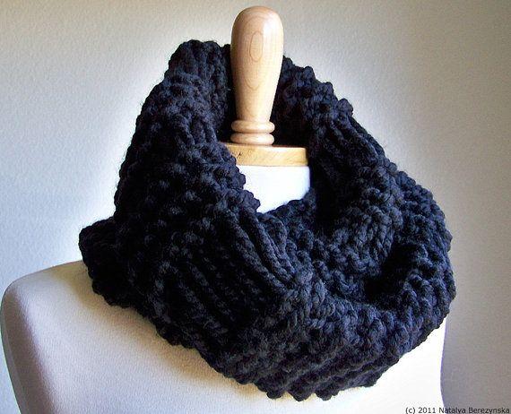 Knit Infinity Scarf Men Chunky Knit Scarf Knit Cowl Scarf Black Infinity  Scarf Chunky Scarf Chunky Infinity Scarf Chunky Knit Cowl Scarf Men