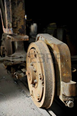 Industrial shot with out of use rusty tram wheels Stock Photo