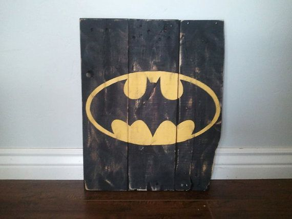 Awesome batman sign for your little superhero! Vintage Batman Wood Sign by TheCreativePallet on Etsy, $40.00