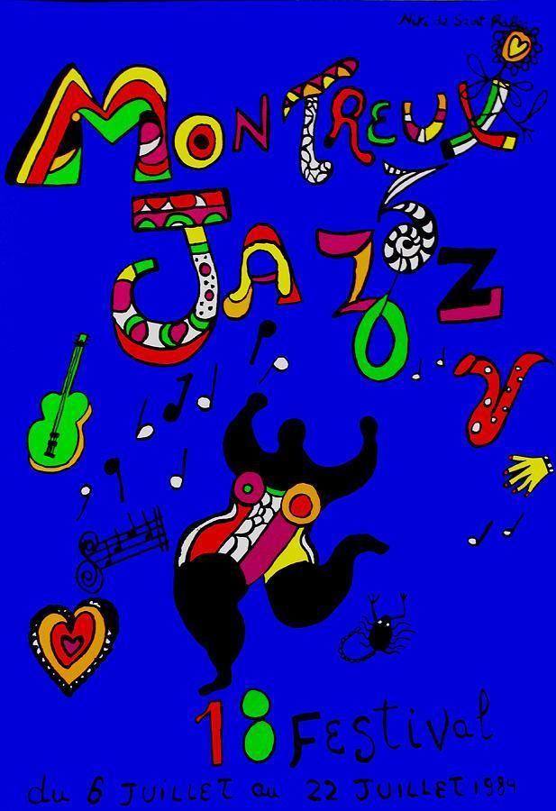 Recordamos hoy a #nikidesaintphalle con su cartel para el Festival de Jazz de Montreux-1984