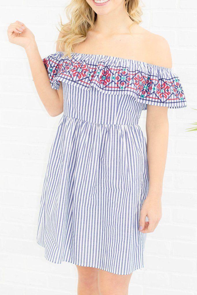 0c9510fd45929d Cute Off The Shoulder Dress- Striped Dress- Spring Dress-  40- Juliana s  Boutique