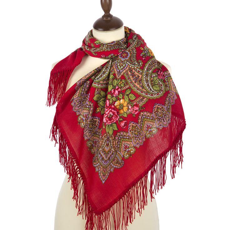 Павлопосадские платки : Озерный край 1622-5, павлопосадский платок шерстяной с шерстяной бахромой