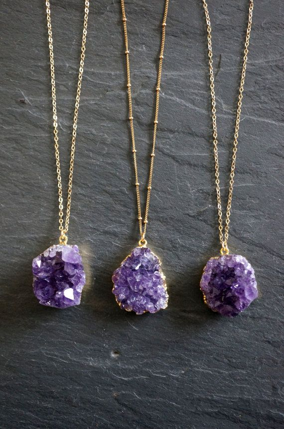 Amethyst Necklace // Amethyst Druzy // Gold by TheRockStarGoddess