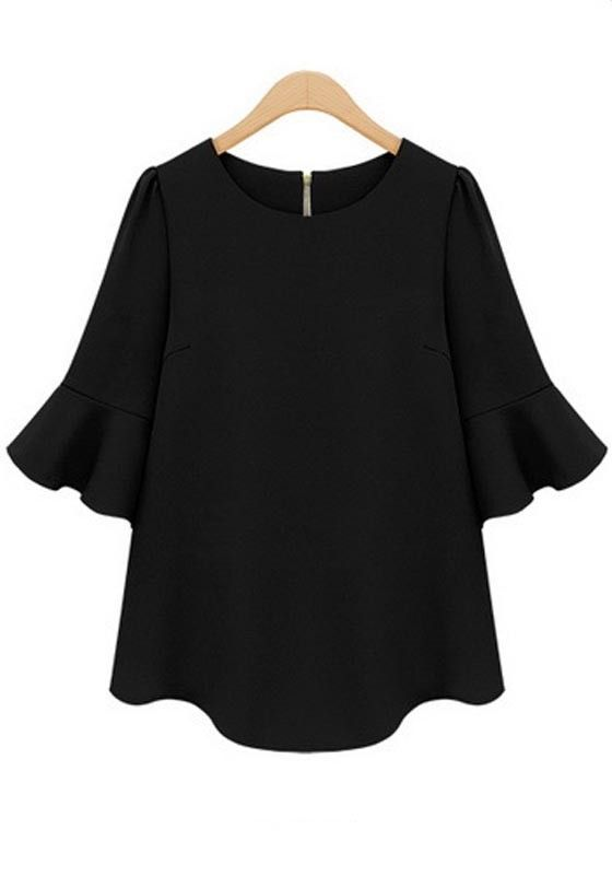 Black Plain Falbala Half Sleeve Chiffon Blouse