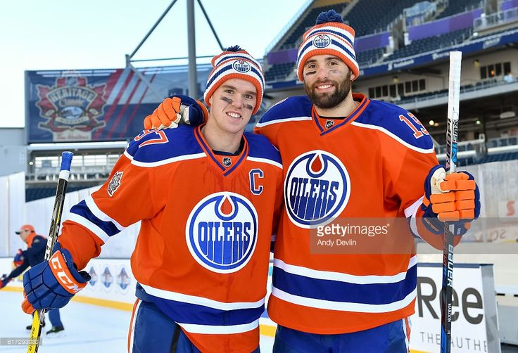 Connor McDavid #97 and Patrick Maroon #19 of the Edmonton Oilers