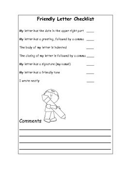 This Checklist Is Designed To Help Students With Writing Friendly Letters.  Self Assessment Is  Letter Mail Format