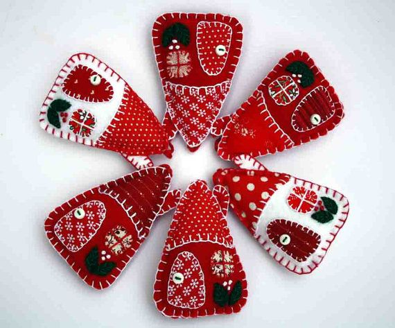Felt Christmas ornaments Red and white by PuffinPatchwork on Etsy